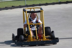 man on a go kart