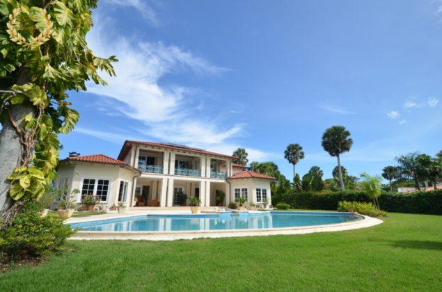 Villa pool seen from the garden