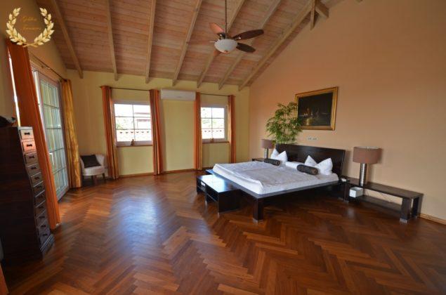 Master bedroom with wooden floor