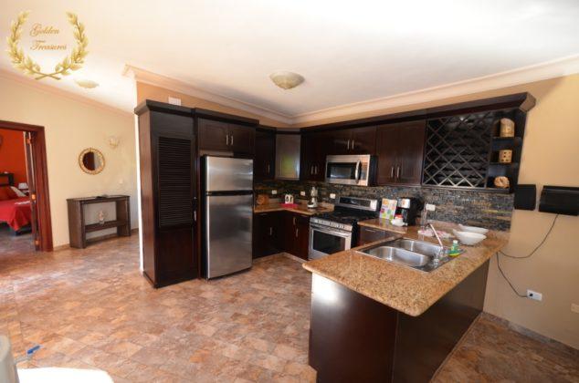 dark wood cabinets in kitchen