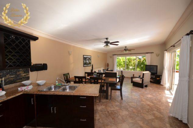semi-circled living room