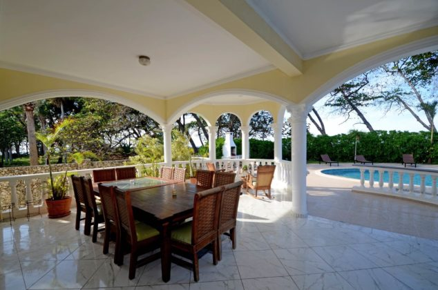 Dining table with ocean view