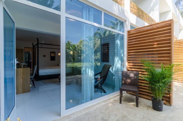 Glass door of a garden suite