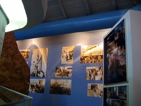 The museum wall with black and white photos