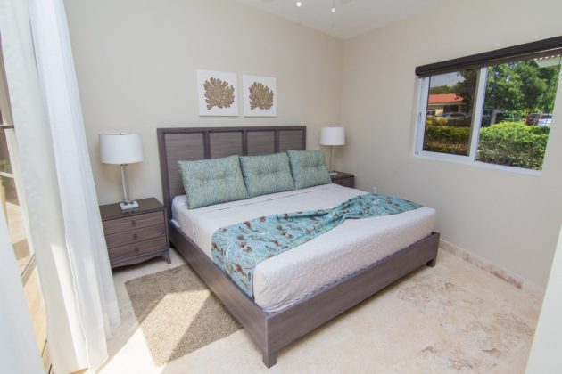 guest bedroom with pale colors