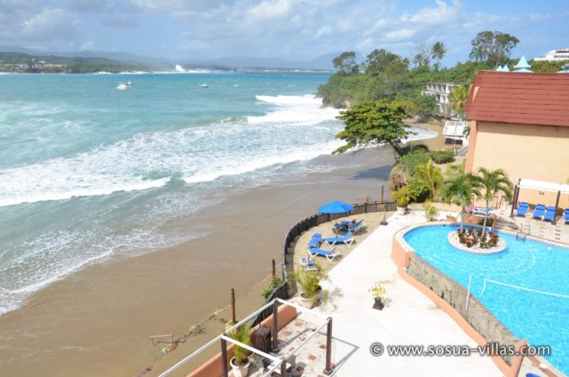 beach below the pool of hotel bellamar
