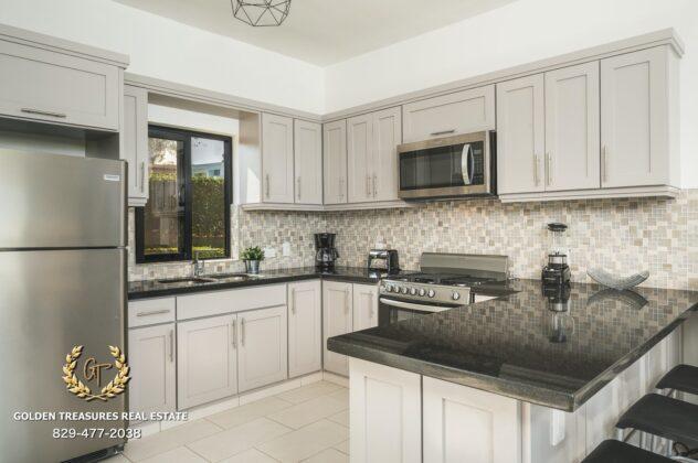 The villa kitchen in white