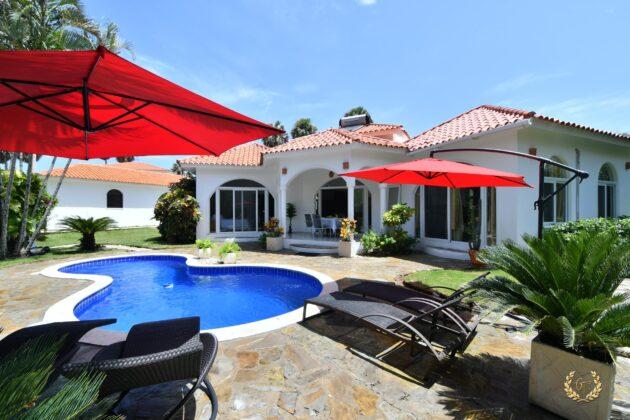 The villa has a nice deck
